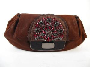 AUTH PRADA Jewelled Brown Alligator Purse