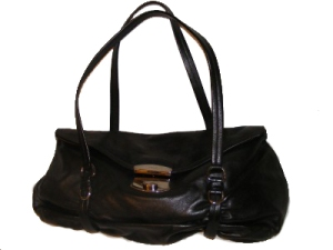 Black leather PRADA purse