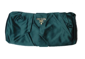 Turquoise silk Prada clutch bag