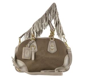 PRADA Logo Jacquard Fringed Strap Handbag