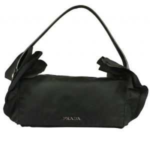 Prada Nylon Ruffle Black Shoulder Bag