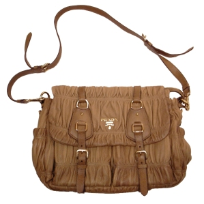 Prada Natural Lambskin gaufre shirred messenger