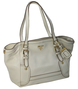 Prada white leather tote bag