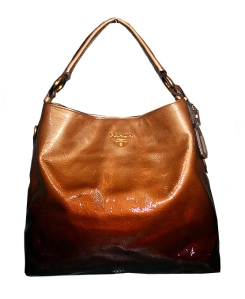 Large brown leather Prada tote