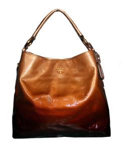 Large brown leather Prada tote