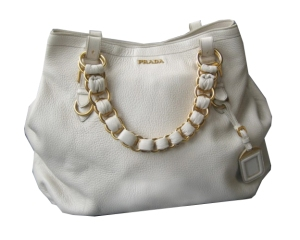 Prada ivory leather handbag