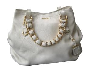Prada ivory leather handbag