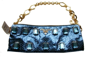 PRADA Metalic Blue Python purse