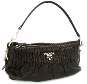 PRADA Black Leather Pleated Purse