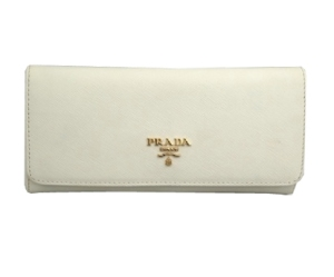 Prada White Leather Wallet
